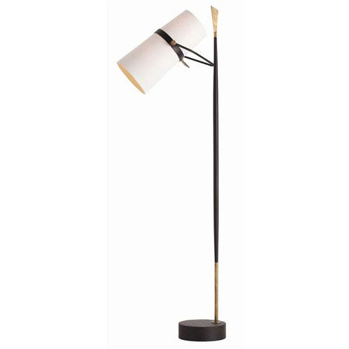 Yasmin Antique Brass and Antique Black Iron Floor Lamp