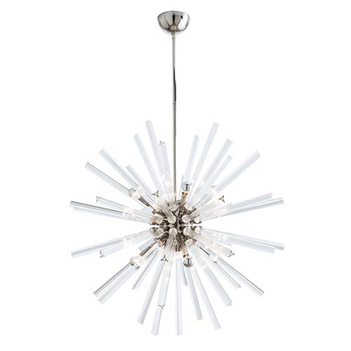 Hanley Clear Eight-Light Large Chandelier with Polished Nickel Stem