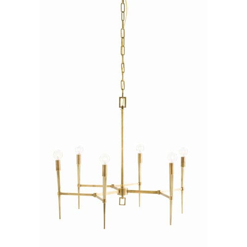 Arteriors Home Auburn Antique Brass Six Light Chandelier with Tapered Arm