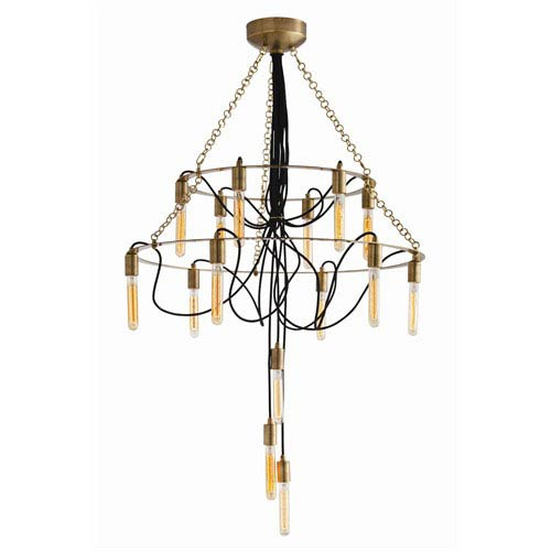 Winston 15-Light Metal and Fabric Cord Chandelier