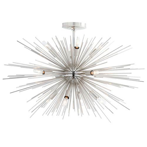 Zanadoo Polished Nickel Twelve-Light Pendant