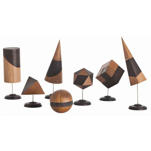 Arteriors Home Geo Wood and Iron Sculptures, Set of Seven