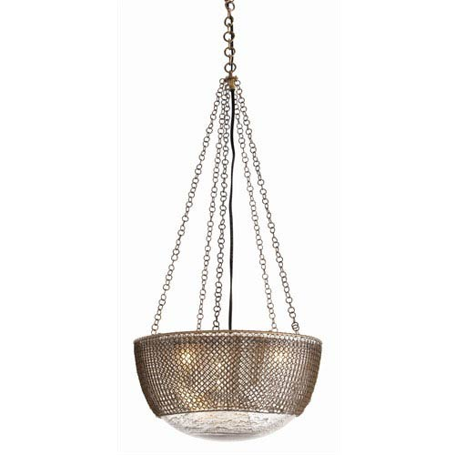 Arteriors Home Chainmail Three-Light Brass and Glass Pendant