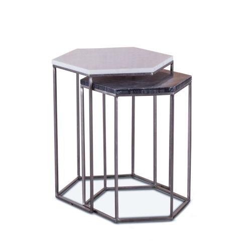 Leonardo Antique Nickel Nesting Hexagonal Side Table With Marble Top, Set Of 2