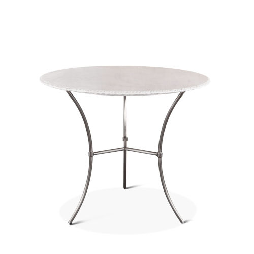 Palm Desert Antique Nickel Dining Table With Round White Marble