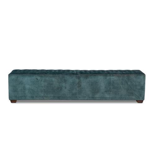 Arabella Sage Green and Antique Black 78-Inch Velvet Bench