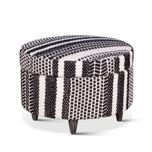 Algiers Gray and Black Storage Ottoman
