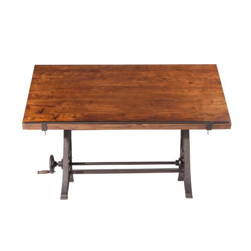 Artezia Teak Wood and Iron Drafting Desk