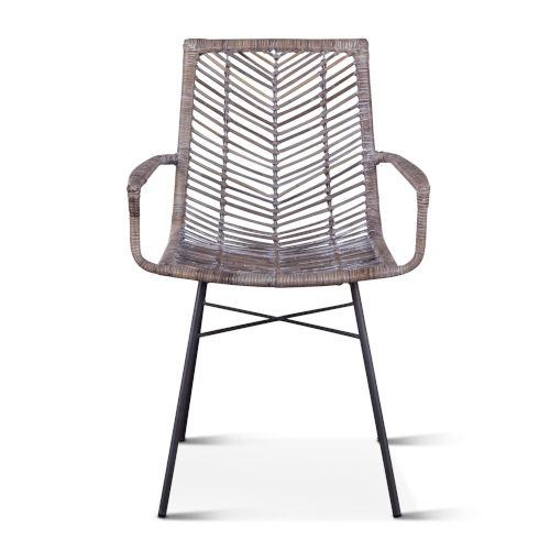 Bali Gray Whitewash and Metal Anthracite Armchair, Set of Two