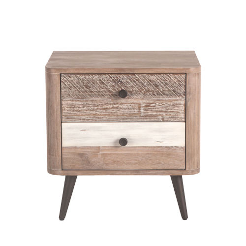 Newport Whitewash Weathered Gray Antique Black and Lacquer Night Chest