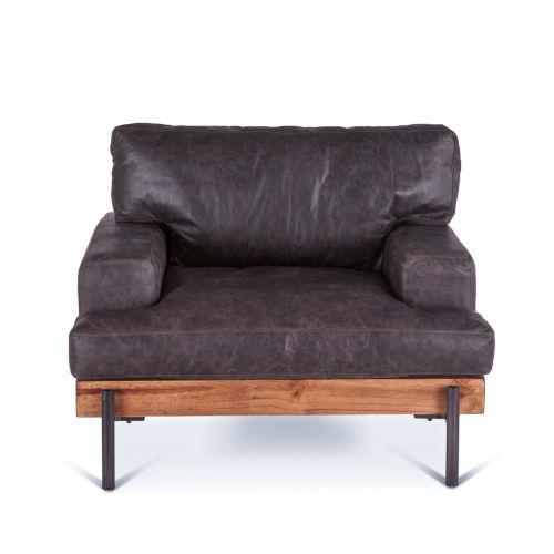 Chiavari Distressed and Antique Zinc Ebony Leather Armchair