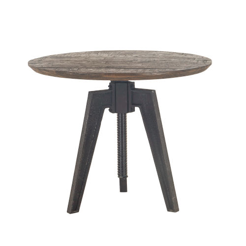 Dakota Bandsaw Teak And Distressed Black Round Adjustable Dining Table