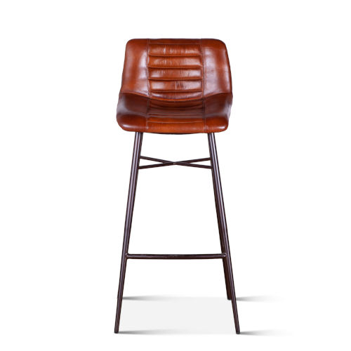 Hudson Brown Low Back Leather Bar Chair