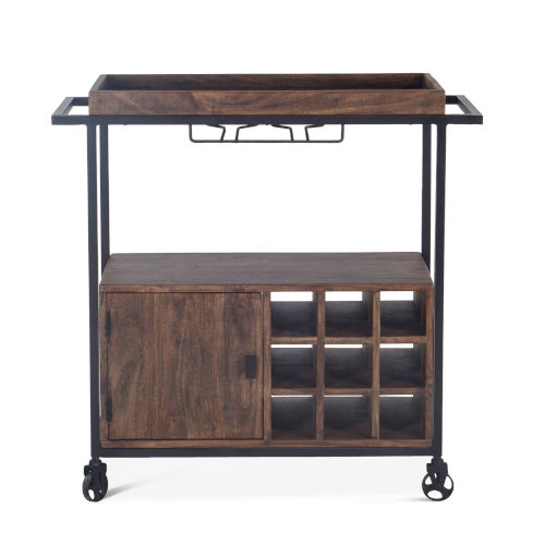 Amici Tawny Brown and Rubbed Zinc Acacia Wood Bar Cart