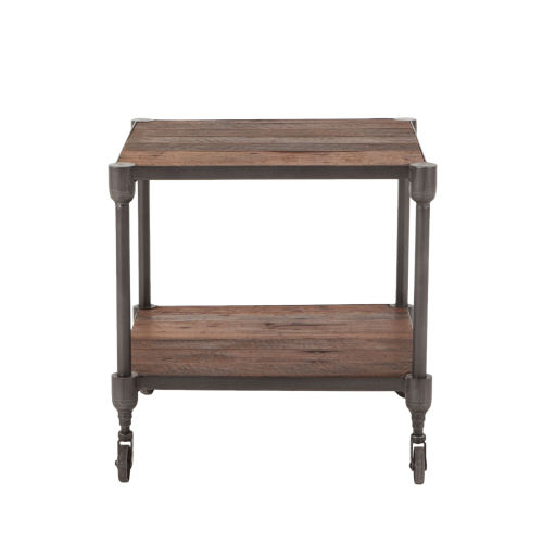 Paxton Weathered Walnut and Gray Zinc Side Table with Wheels