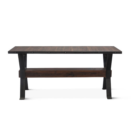 Paxton Weathered Walnut and Gray Zinc Console Table