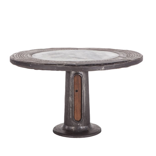 Welles Natural Patina 53-Inch Round Marble Dining Table