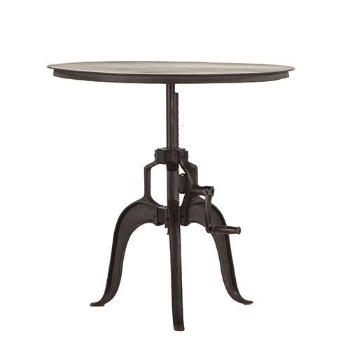 Reclaimed Metal Large Adjustable Crank Side Table