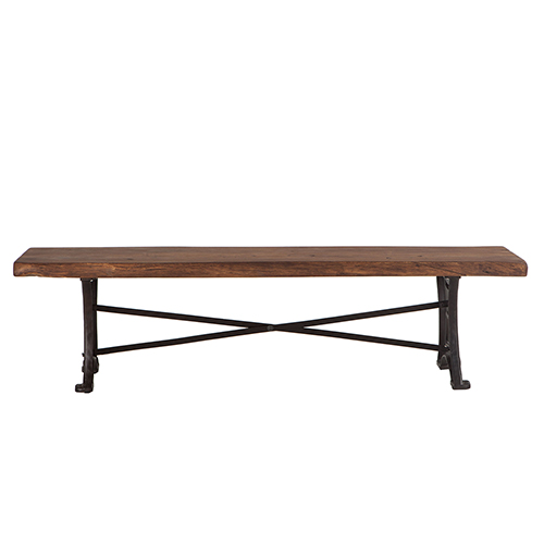 Raw Walnut Acacia Wood Dining Bench