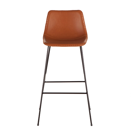 Tan Faux Leather Barstool with Black Metal Legs- Set of Two