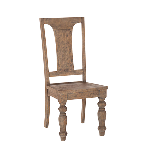 Set of Two Reclaimed Weathered Teak Dining Chairs