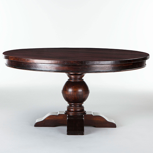 World Interiors Mango Wood Round 60 Dining Table In Chestnut