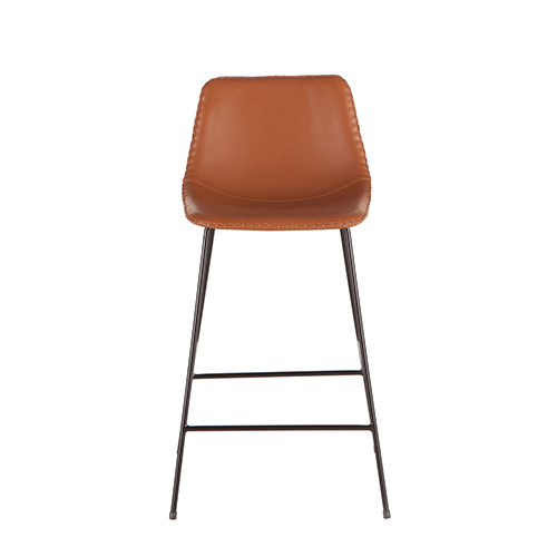 Tan Faux Leather Counter-Height Stool