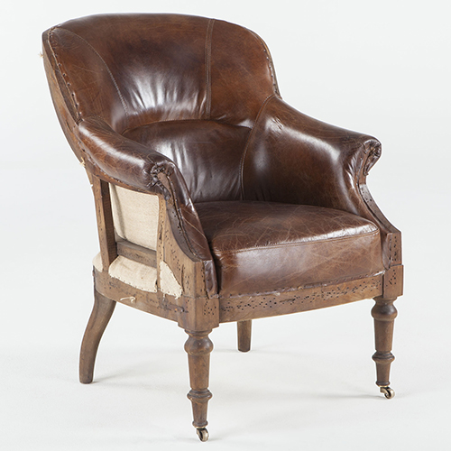 Distressed Tobacco Leather Deconstructed Club Chair