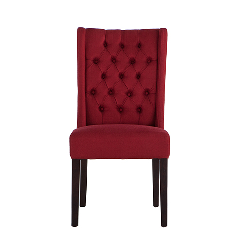 Set of Two Tufted Red Linen Dining Chairs