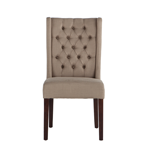 Set of Two Tufted Warm Beige Linen Dining Chairs