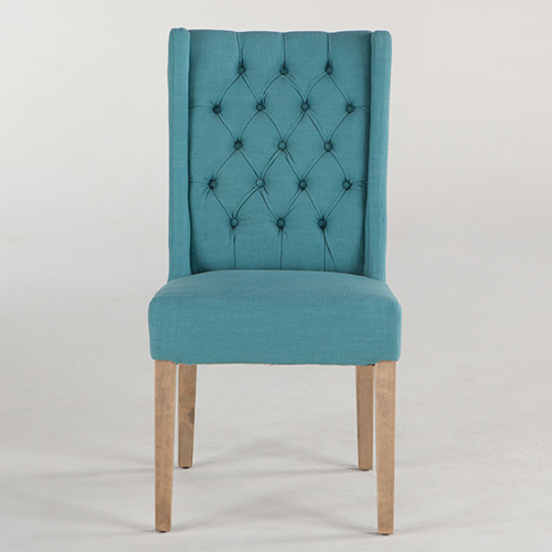 Set of Two Tufted Teal Linen Dining Chairs