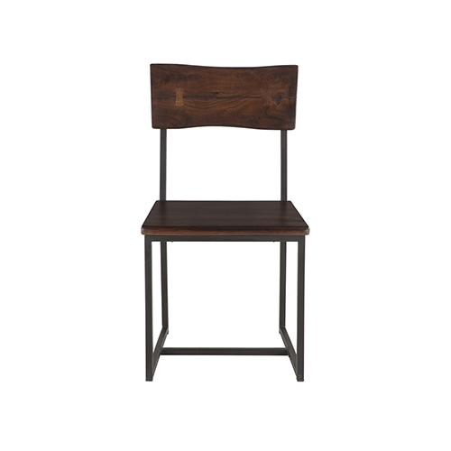 Set of Two Dark Walnut Wood and Iron Dining Chairs
