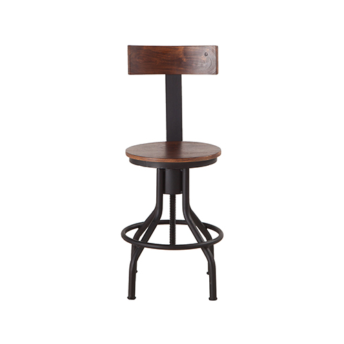 Set of Two Acacia Wood and Iron Adjustable Dining Chairs