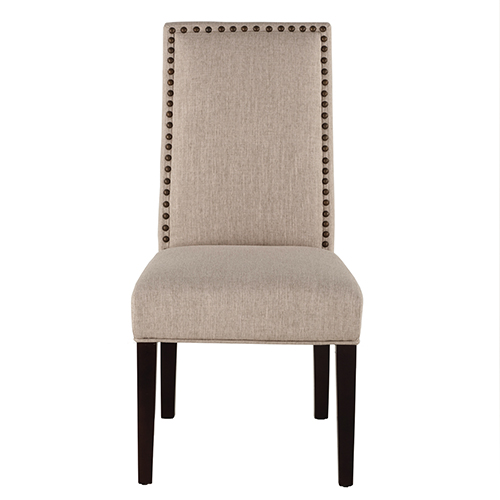 Set of Two Beige Linen Chairs with Nailhead Trim
