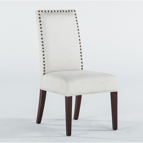 Set of Two Off-White Linen Chairs with Nailhead Trim