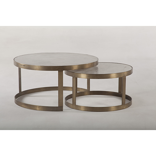 Set of Two White Marble and Antique Gold Nesting Coffee Tables
