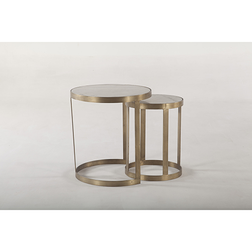 Set of Two White Marble and Antique Gold Nesting Side Tables