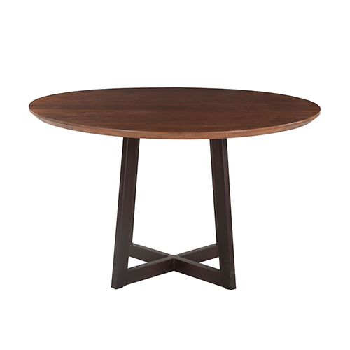 Acacia Wood and Iron Round Dining Table