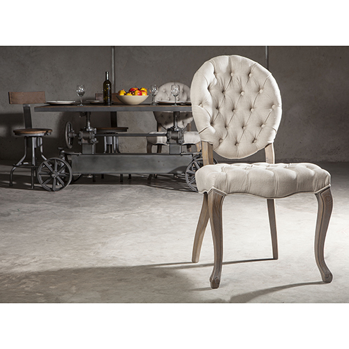 Set of Two Portia Off-White Tufted Linen Chair