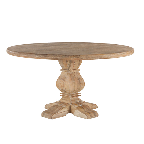 Mango Wood 60 Round Dining Table in Antique Oak