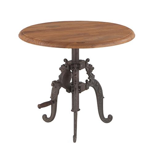 Reclaimed Weathered Grey Teak Adjustable Round Side Table