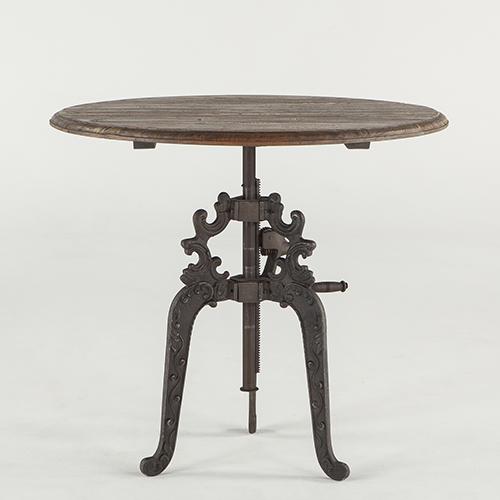 Reclaimed Weathered Grey Teak Adjustable Round Dining Table