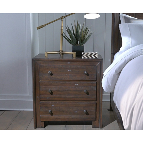 Lifestyle Solutions Princeton Distressed Mohogany Three Drawer Nightstand