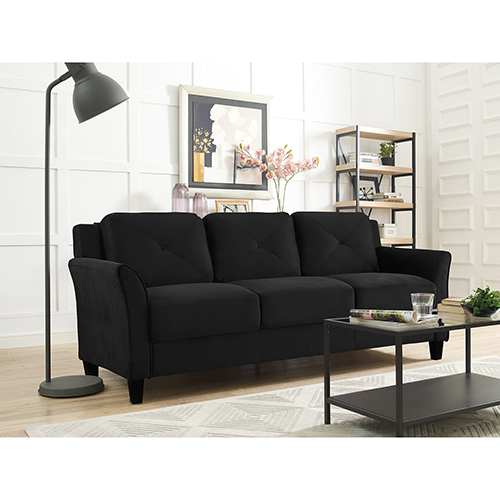 Harvard Black Polyester Sofa