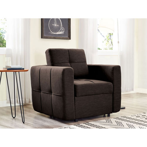 Relax A Lounger Bailey Convertible Chair in Dark Brown
