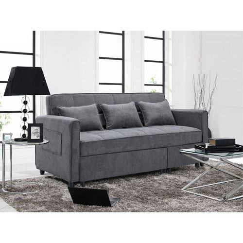 Lifestyle Solutions Relax A Lounger Sorenson Convertible Sofa In Grey