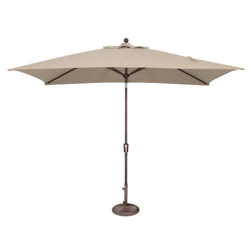 Catalina Beige Rectangle Push Button Tilt Market Umbrella