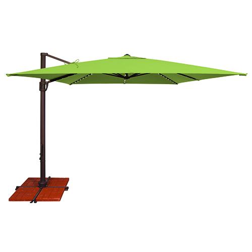 Bali Pro 10 Foot Sunbrella Gingko Green Square Umbrella with Starlight Feature and Cross Base Stand