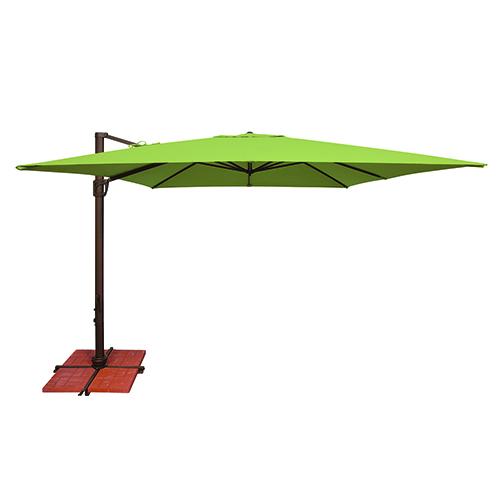 Bali 10 Foot Sunbrella Gingko Green Square Umbrella with Cross Base Stand
