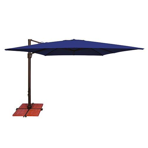 Bali 10 Foot Sunbrella Navy Blue Square Umbrella and Cross Base Stand